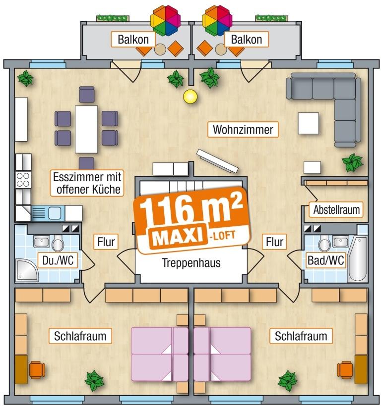 Maxi Loft 116 Qm Am Zeisigwald In Chemnitz Als 5 Bis 6 Raum