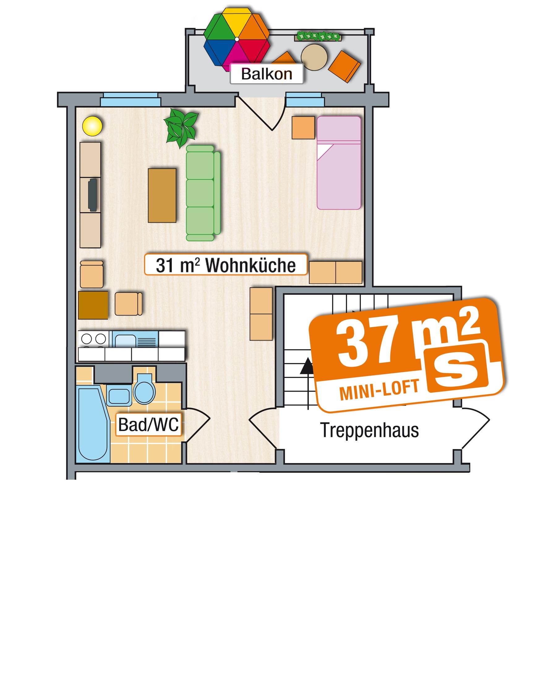 mini loft s 37 qm am zeisigwald in chemnitz. Black Bedroom Furniture Sets. Home Design Ideas