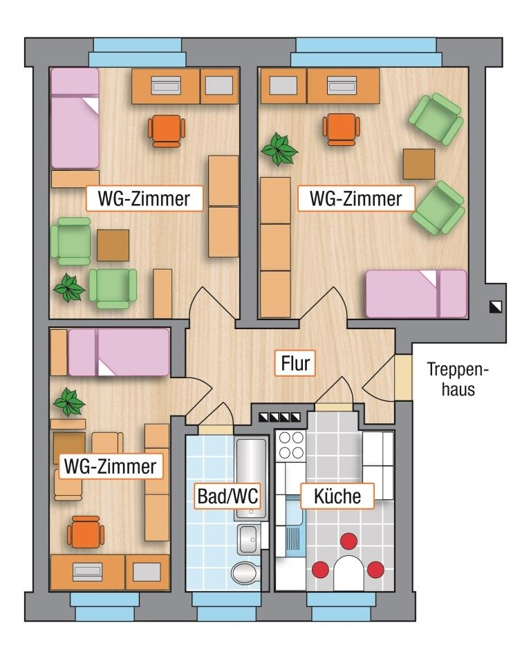 studentenwohnungen direkt am campus der tu chemnitz mit einbauk che. Black Bedroom Furniture Sets. Home Design Ideas